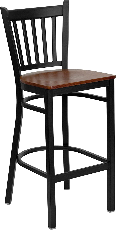 Flash Furniture 2 Pk. HERCULES Series Black Vertical Back Metal Restaurant Barstool – Cherry Wood Seat