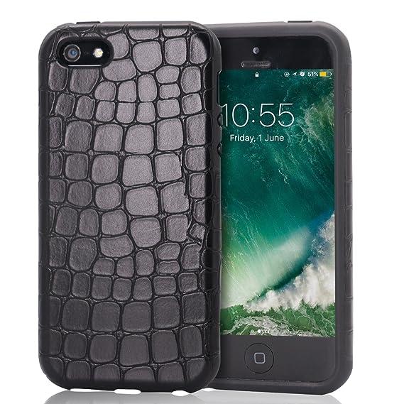 detailed look 727b2 1bddd Amazon.com: Mthinkor iPhone SE Case Crocodile Leather Shock ...