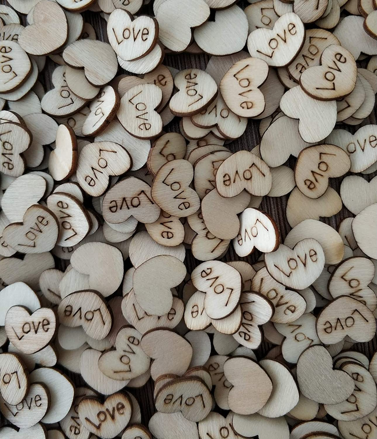 Couple Wood Hearts Shabby Chic Craft Scrapbook Vintage Confetti Heart 10mm