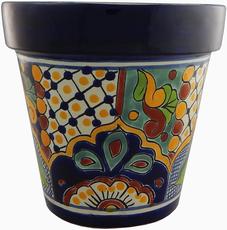 Mexican Talavera Planter Ceramic Flower Pot Folk Art Pottery Garden Handmade # 26