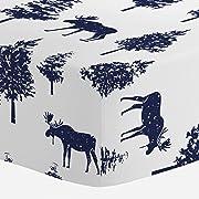 Carousel Designs Navy Moose Crib Sheet - Organic 100% Cotton Fitted Crib Sheet - Made in the USA