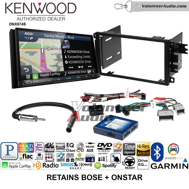Kenwood dnx874sダブルDINラジオインストールキットwith GPSナビゲーションApple CarPlay Android自動Fits 2003 – 2005シボレーブレザー、2003 – 2006 Silverado、サバーバンBose ( and OnStar ) B07BYY36G6