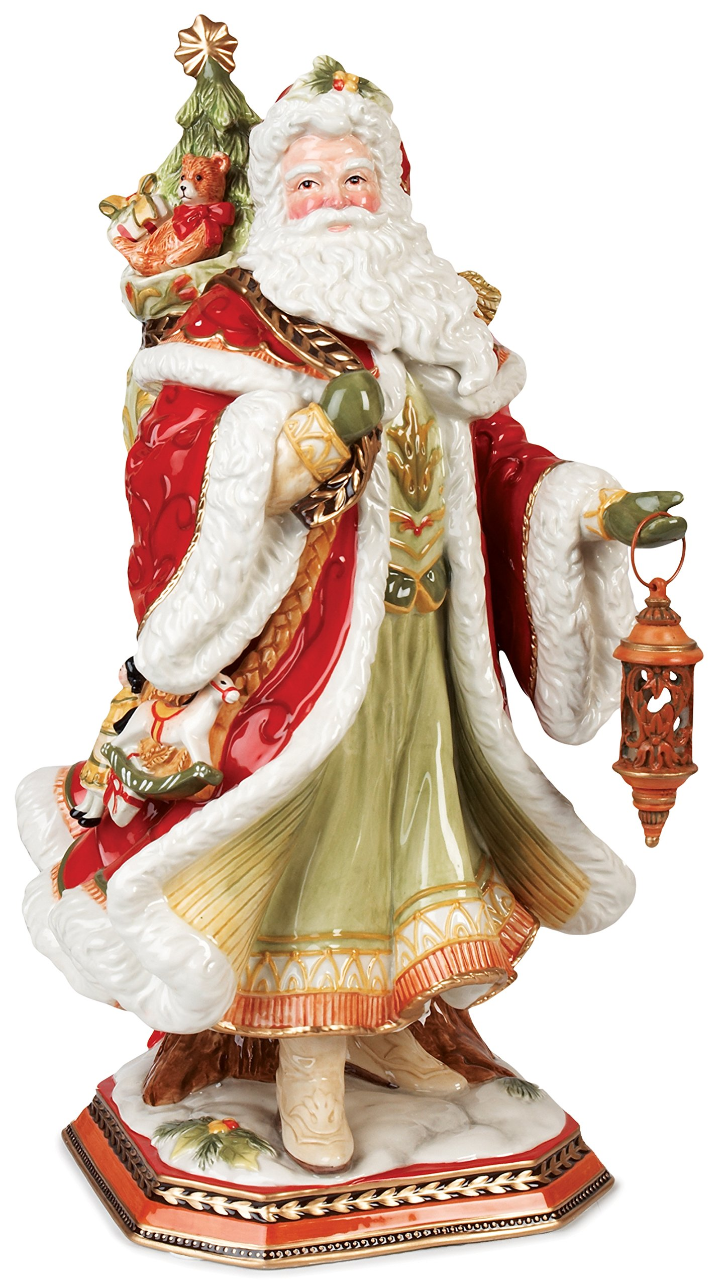 Fitz and Floyd Damask Holiday Santa Figurine, 19-Inch, Red