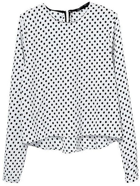 sheinside® Mujer corta Blusa De Gasa Transparente con Lunares, color blanco Blanco blanco