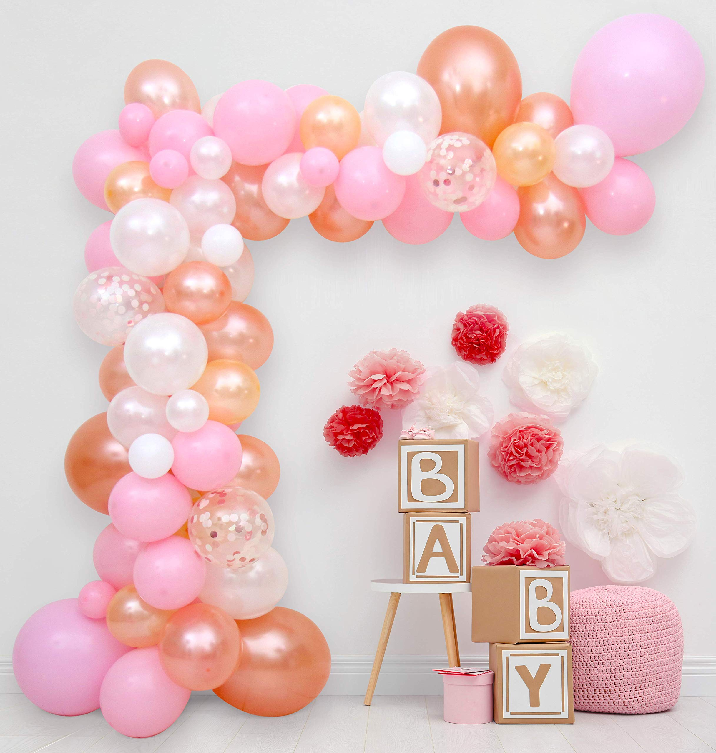 Balloon Arch & Garland Kit | 96 Pink Peach Rose Gold Confetti & White Balloons + Extras | 16' Decoration | Wedding, 1st Birthday Party, Baby Shower