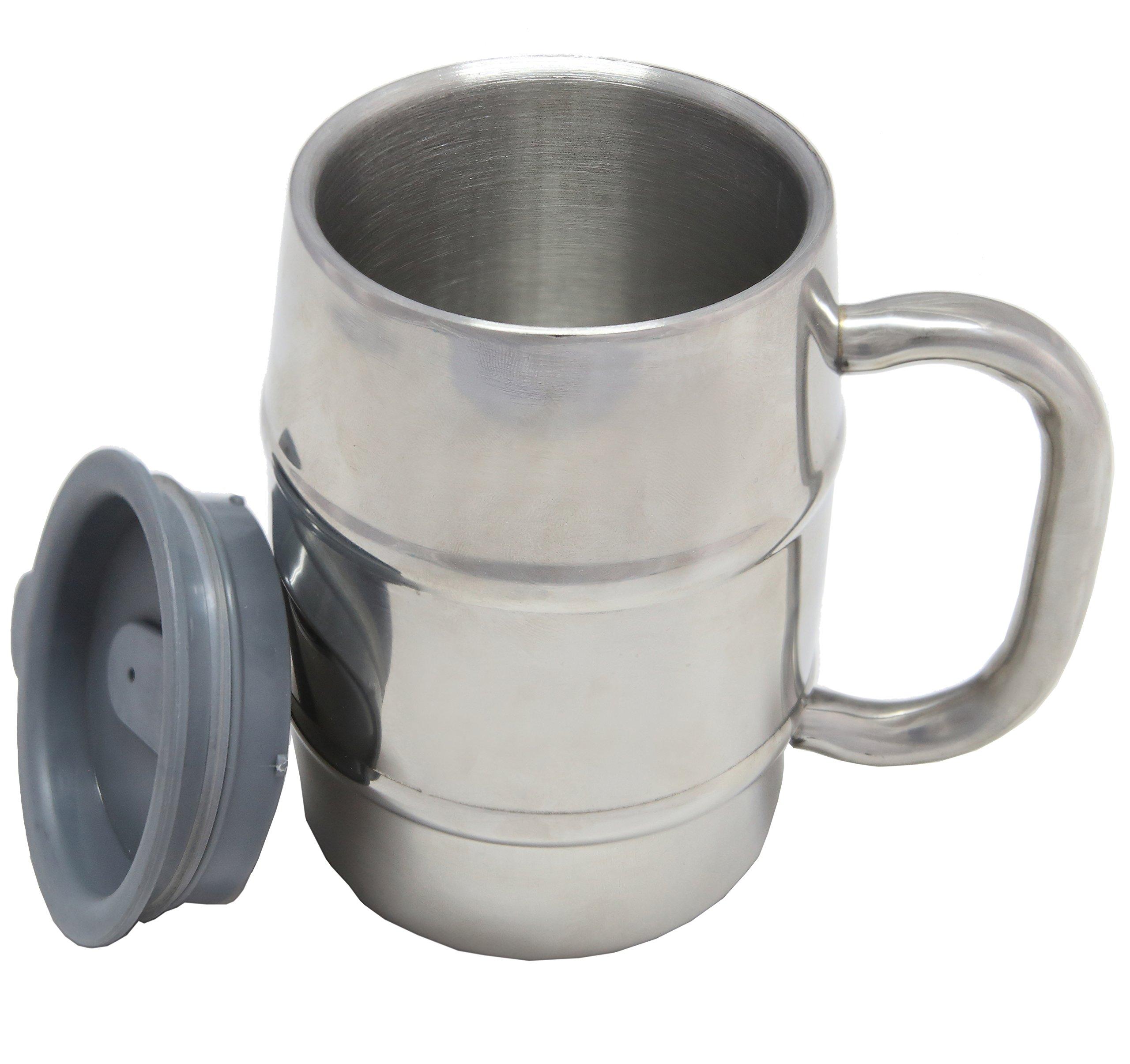 Nuvantee Beer Mug – Premium Stainless Steel Mug/Coffee Cup with Bonus Lid, Silver