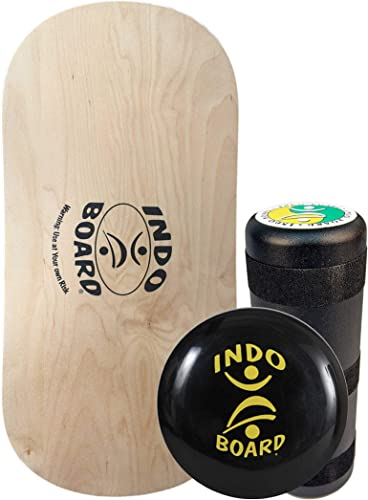 INDO BOARD Rocker Balance Board Package Ages, Improve Balance, Comes with 33 X 15 Non-Slip Deck 6.5 Roller and 14 Cushion – 5 Colors to Choose from