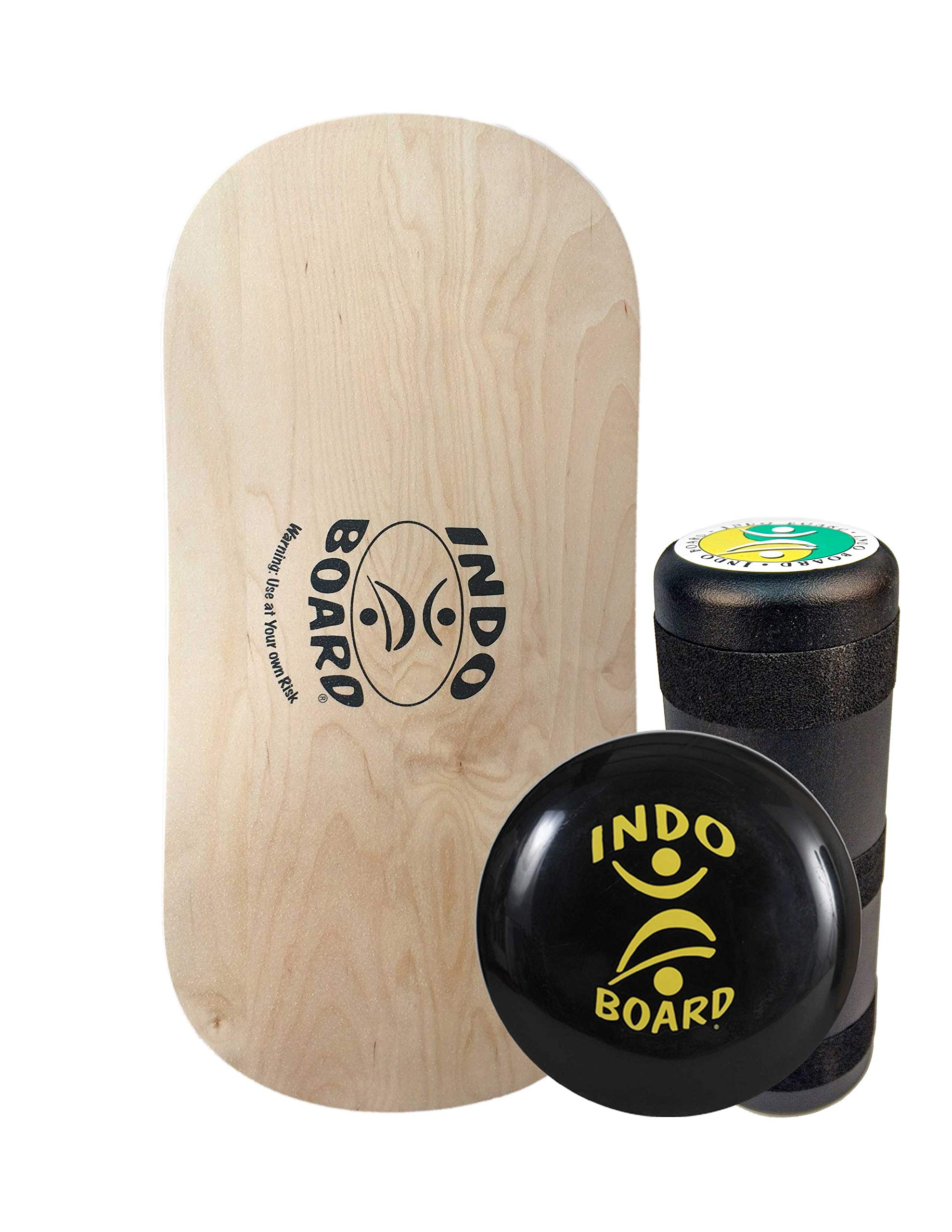 INDO BOARD Rocker Balance Board Package Ages, Improve Balance, Comes with 33'' X 15'' Non-Slip Deck 6.5'' Roller and 14'' Cushion - Natural Wood