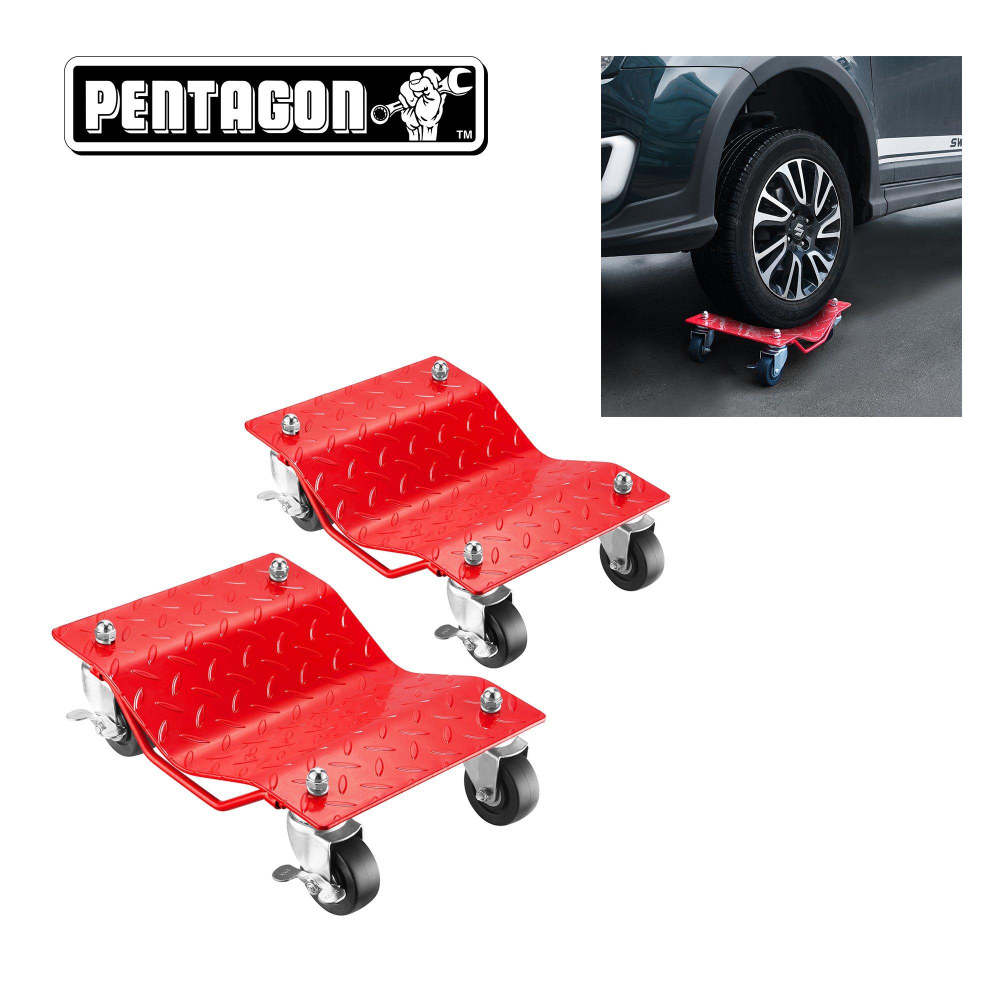 Pentagon 83-DT5500 5050 Tool | Premium 2-Pack | Car Dolly-Tire Skates Red