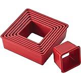 Cake Boss Nylon Baking Cutters Set - Square Shape, 9-Piece, Red