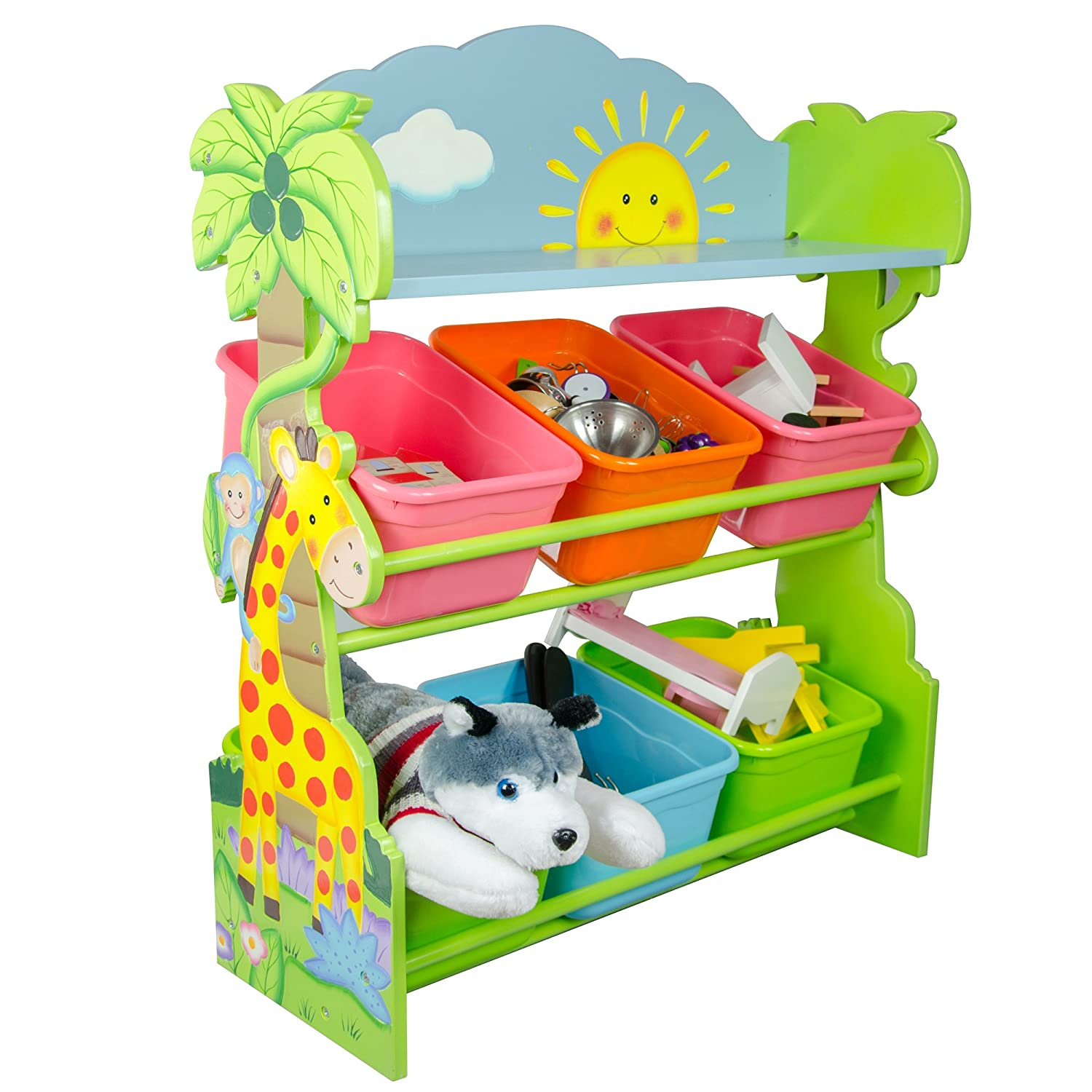 Fantasy Fields by Teamson Sunny Safari Childrens Kids 6 Compartment Storage Cubby TD-12242A