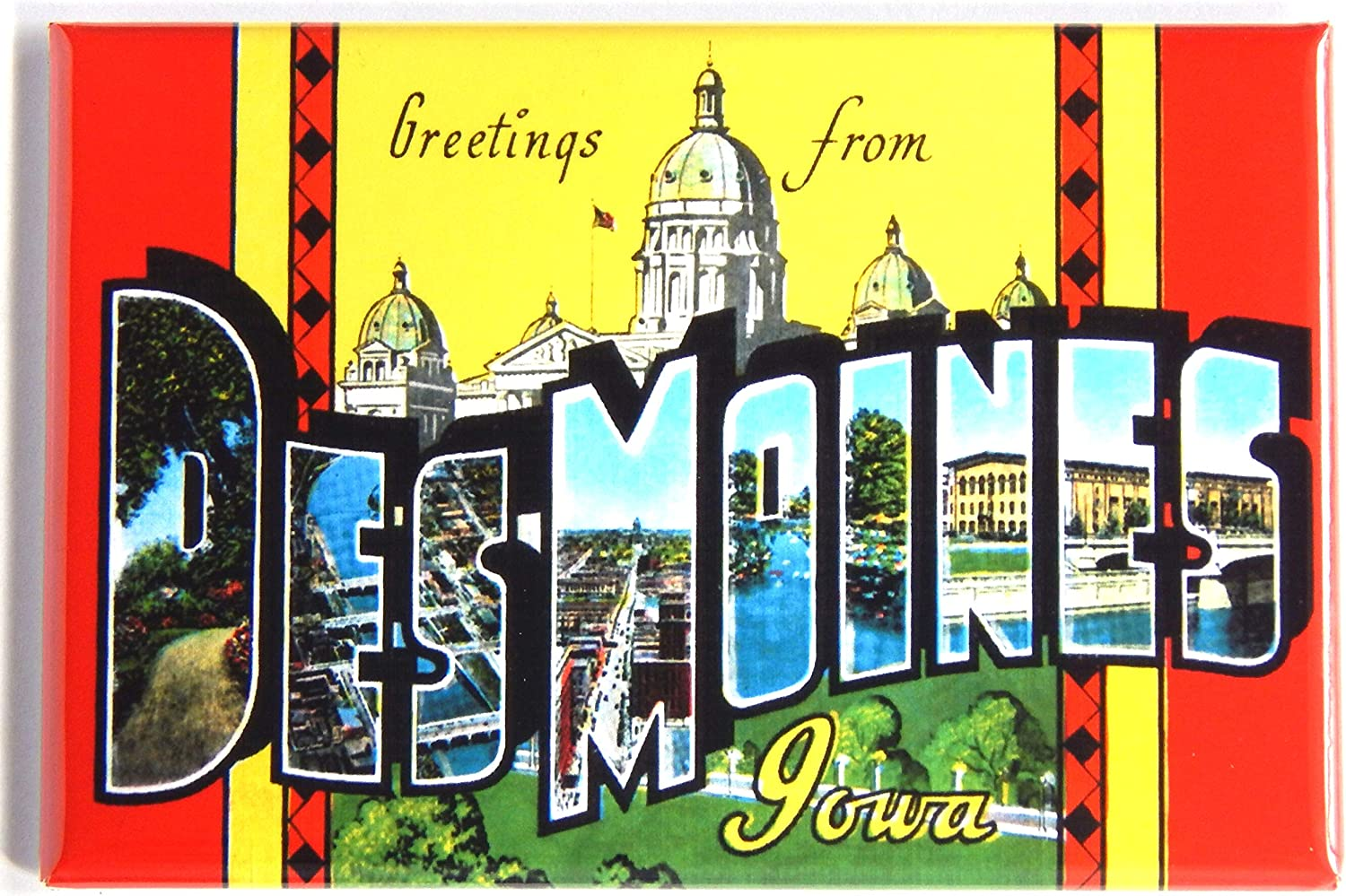 Greetings from Des Moines Iowa Fridge Magnet (2 x 3 inches) style B