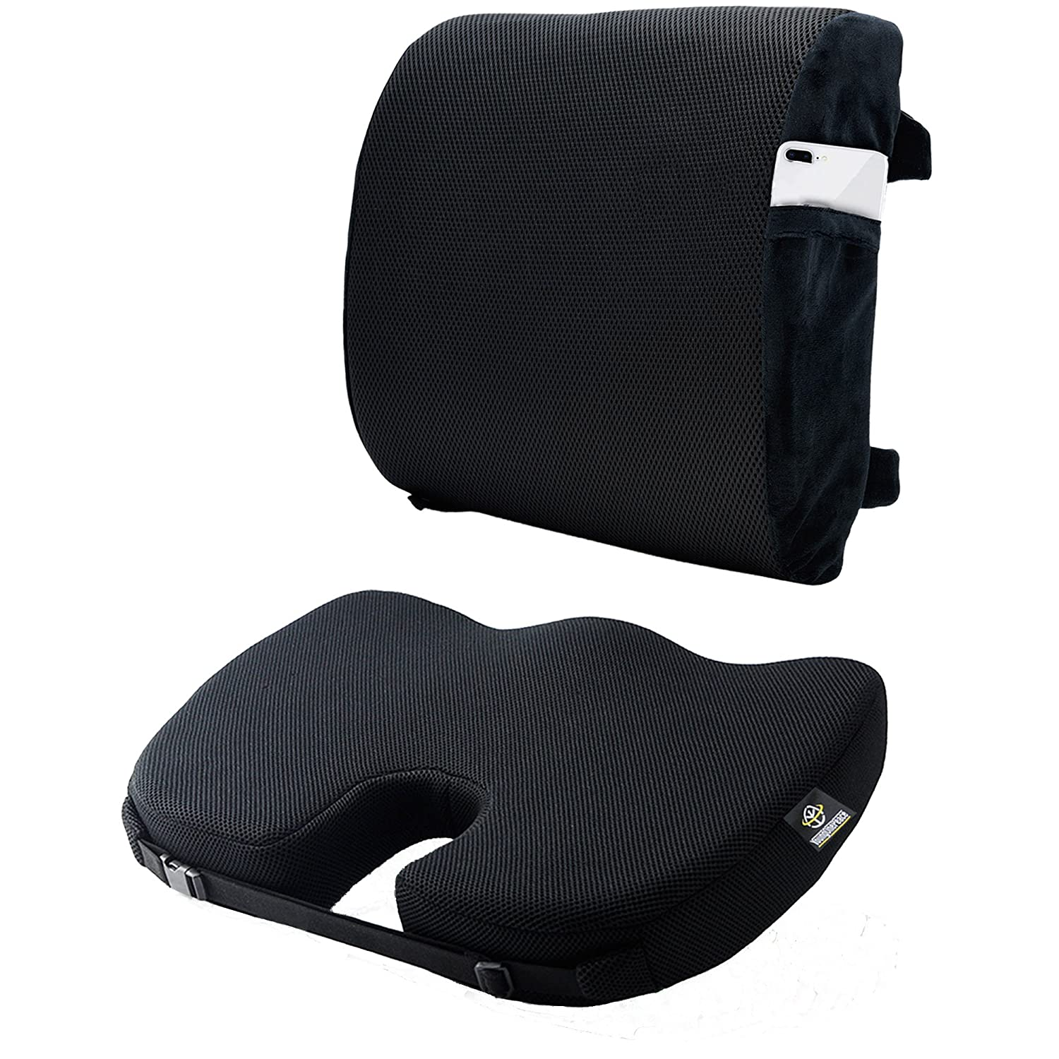 Black Seat Cushion Set For Car Office Airplane Chair - Coccyx Orthopedic Memory Foam and Back Pillow for Lower Back Pain - Tailbone Sciatica Pain Relief, Lumbar Support, Improves Posture Young One Peace
