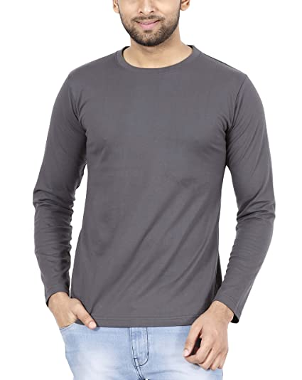 ed8234fe8 FLEXIMAA Men's Cotton Plain Round Neck Full Sleeve T-Shirt Steel Grey  Color.: Amazon.in: Clothing & Accessories