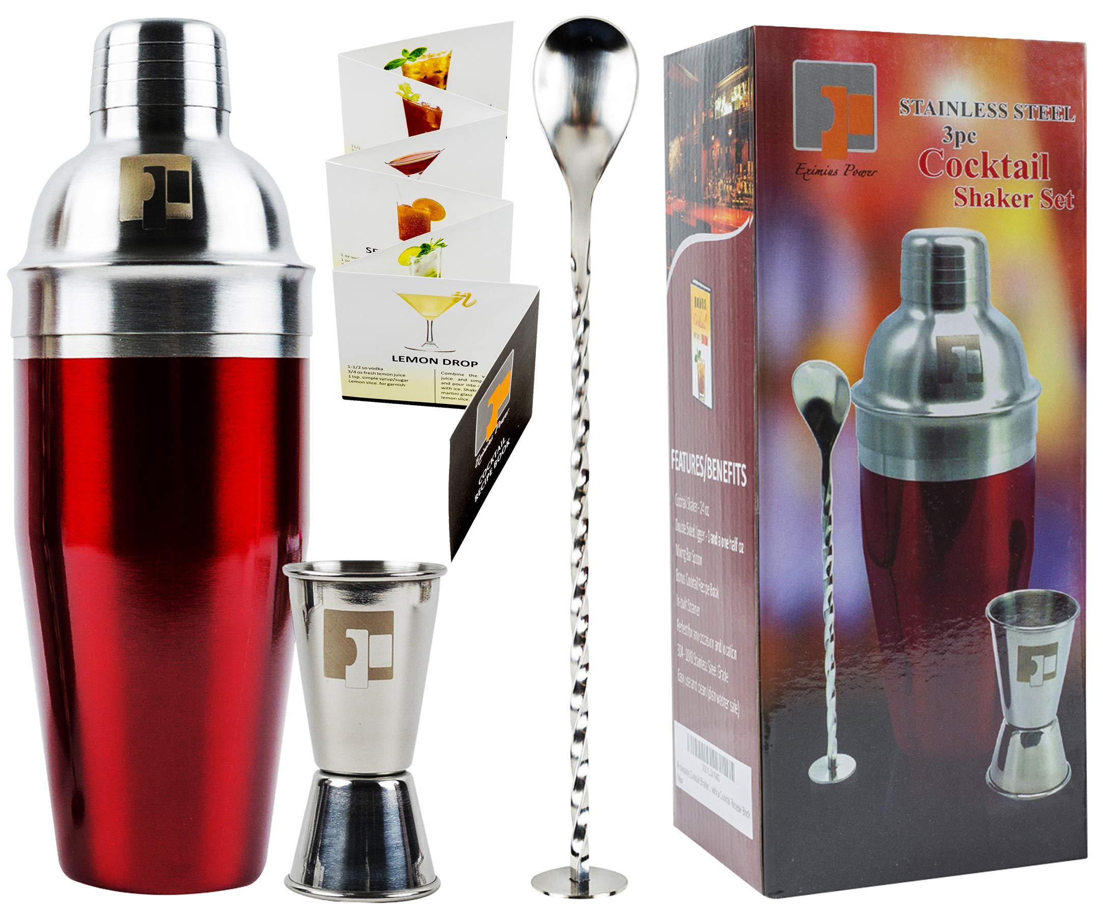 Eximius Power Stainless Steel Cocktail Shaker Set Gift Box | 3pc Bar tool accessories | Bartender Martini Drink Mixer built-in Strainer, Double Jigger, Mixing Spoon & Recipe Book