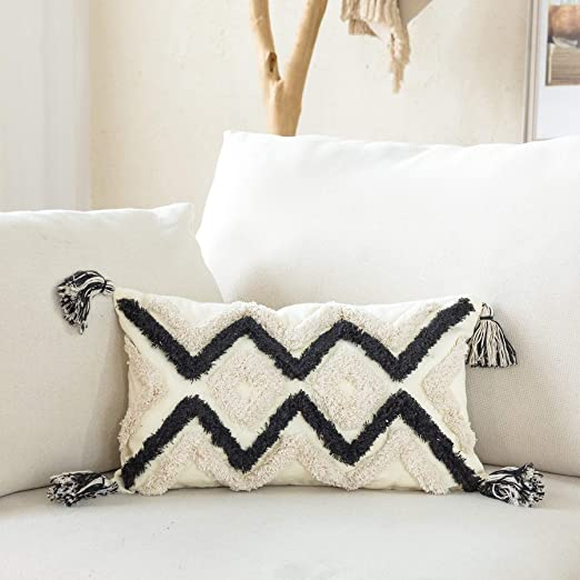Geometric  Geo Boho Rectangle Lumbar Throw Pillow by Spoonflower Verdure Ikat Oatmeal by nouveau/_bohemian Black And White Accent Pillow