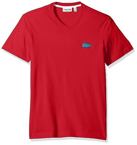 e56485a0 Lacoste Men's V-Neck T-Shirt with Contrast Applique Croc | Amazon.com