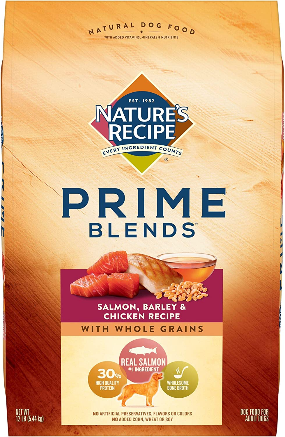 Nature's Recipe Prime Blends Dry Dog Food, Salmon, Barley, and Chicken Recipe, 12 Pounds