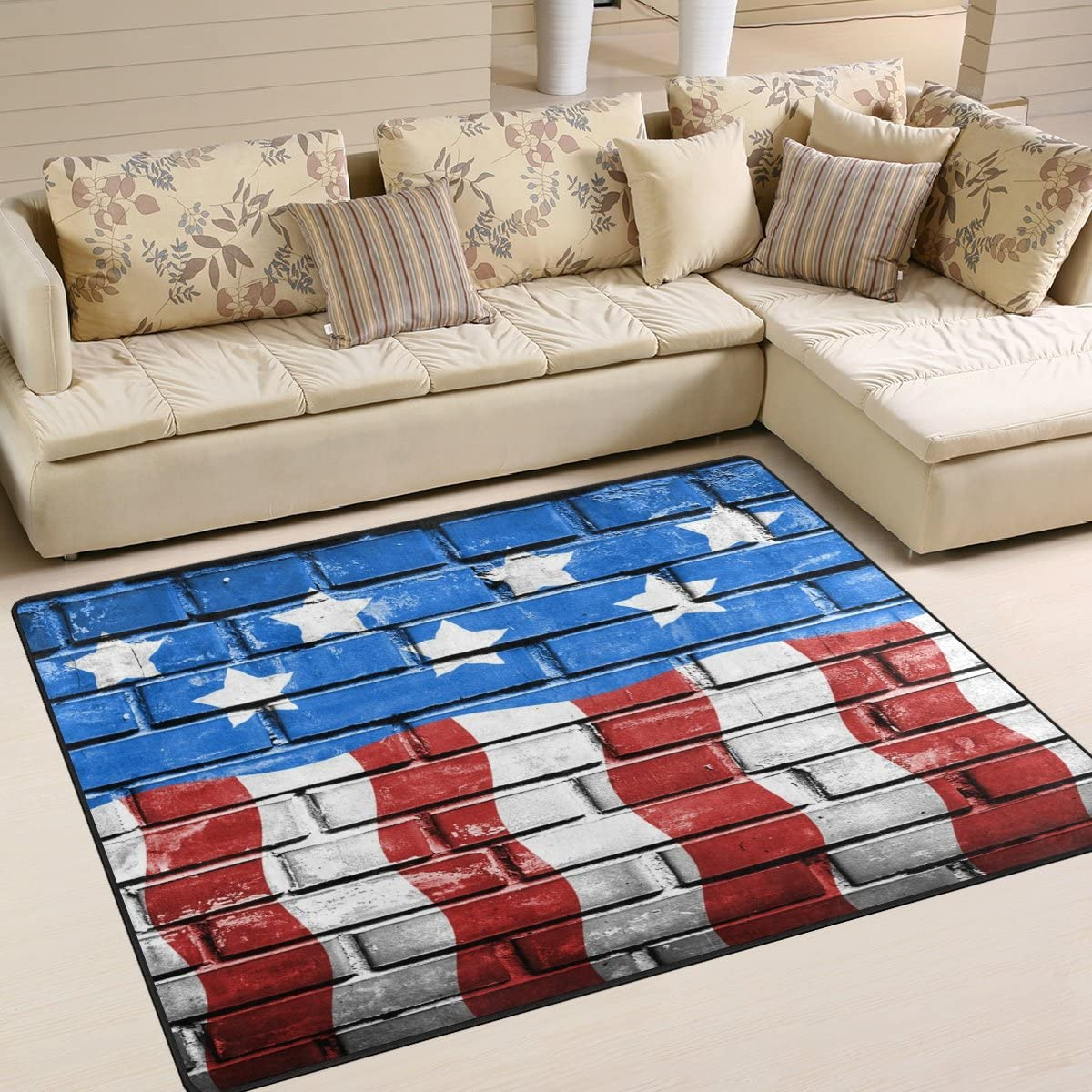 B072NB7NKW Brick Wall American Flag 4th of July Independence Memorial Day Patriotic Freedom Ripple Waves Area Rug Pad Non-Skid Kitchen Floor Mat for Living Room Bedroom 5'x7' Doormats Home Decor 8123fBbWiAL