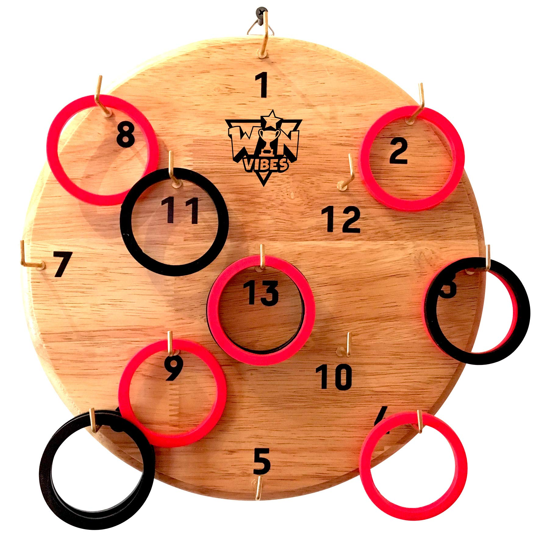 Hookey Ring Toss Game Set by Win Vibes - Solid Wooden Board - Birthday Idea for Adults Men Dad or Mom and for Kids Boys or Girls - Fun Toy For Party and Family Outdoor or Indoor Play by Win Vibes
