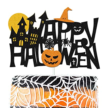 Double Sided Black Glitter Happy Halloween Cake Topper Halloween Cake Party Decorations