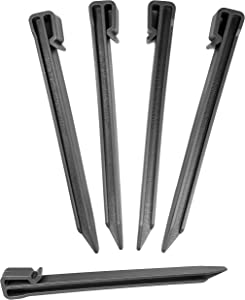 "One Stop Outdoor Black (25-Pack) - 10"" Inch Heavy Duty Plastic Landscape Edging Stakes, Anchoring Spikes for Edging & Terrace Board (Fits Most Brands Dimex EasyFlex Master Mark) (25)"