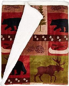 Carstens, Inc Patchwork Lodge Soft Sherpa Plush Throw Blanket, Multi