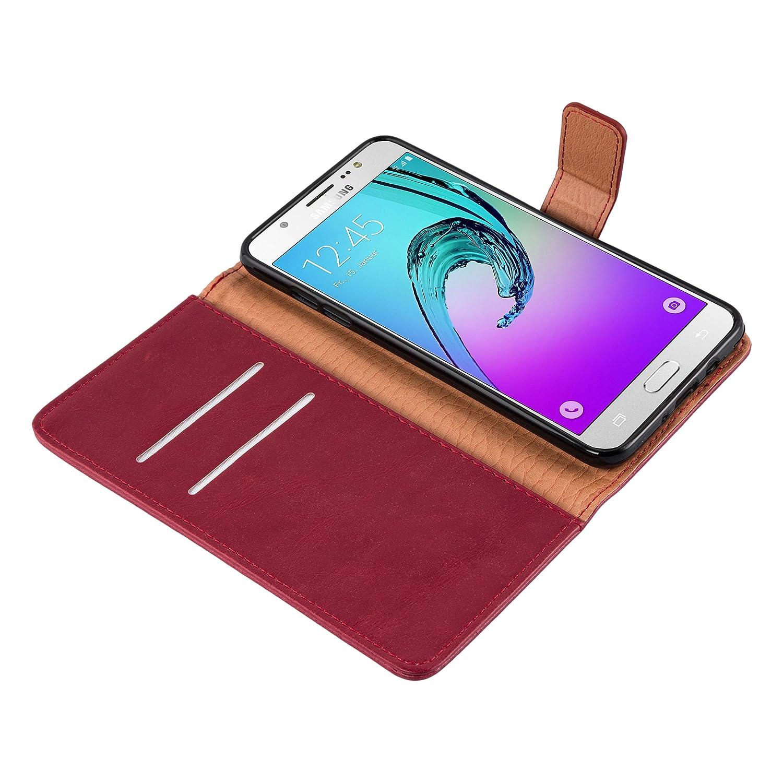Cadorabo Coque pour Samsung Galaxy J7 2016 en Cappucino Braun Stand Horizontal et Fente Carte Housse Protection avec Fermoire Magn/étique Portefeuille Etui Poche Folio Case Cover