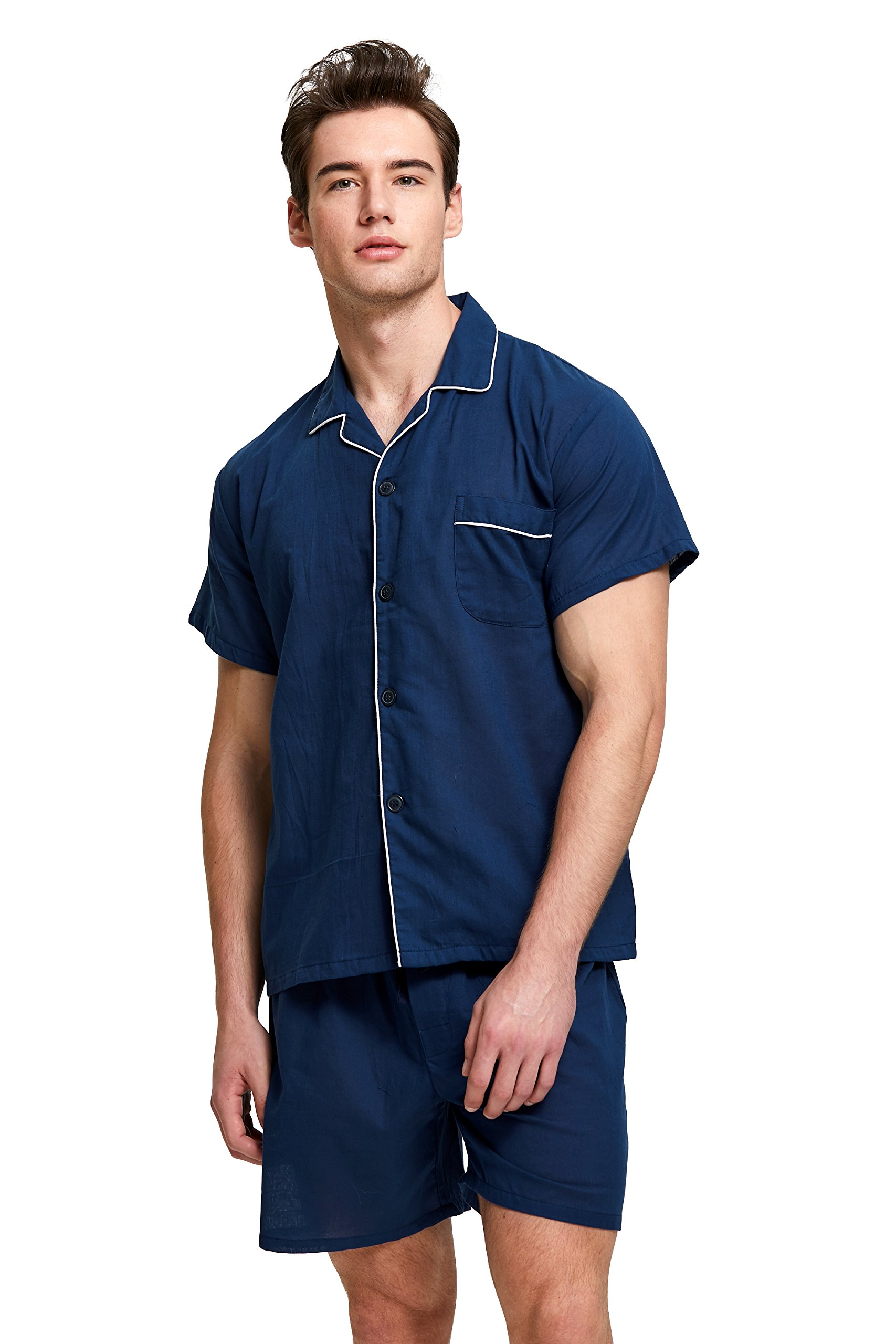 Men's Cotton Pajama Set, Short Sleeve Woven Sleepwear with Shorts, Button Down Nightwear (Navy Blue with White Piping, Large)