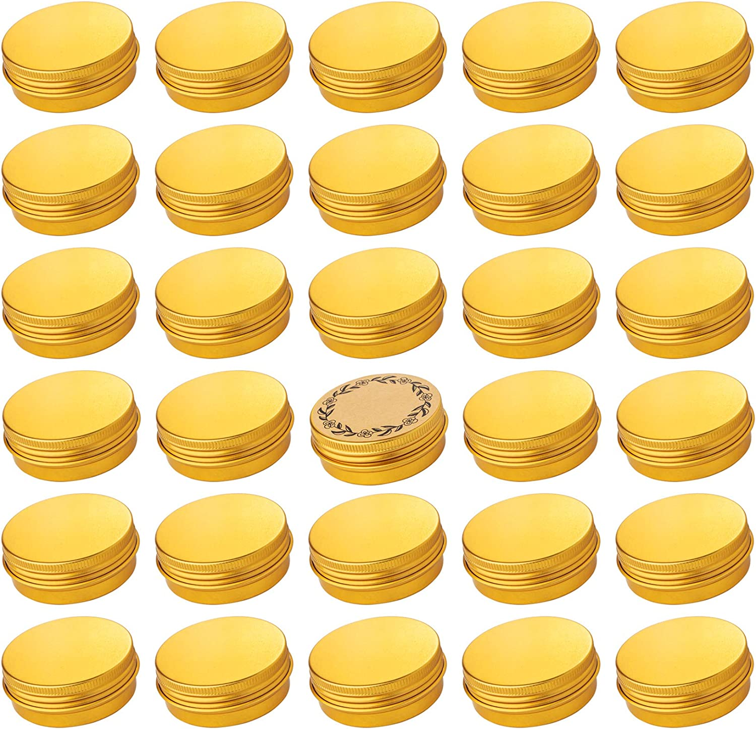 Screw Top Gold Aluminum Tin Jar with Screw Lid and Blank Labels - 31pcs, 1 oz