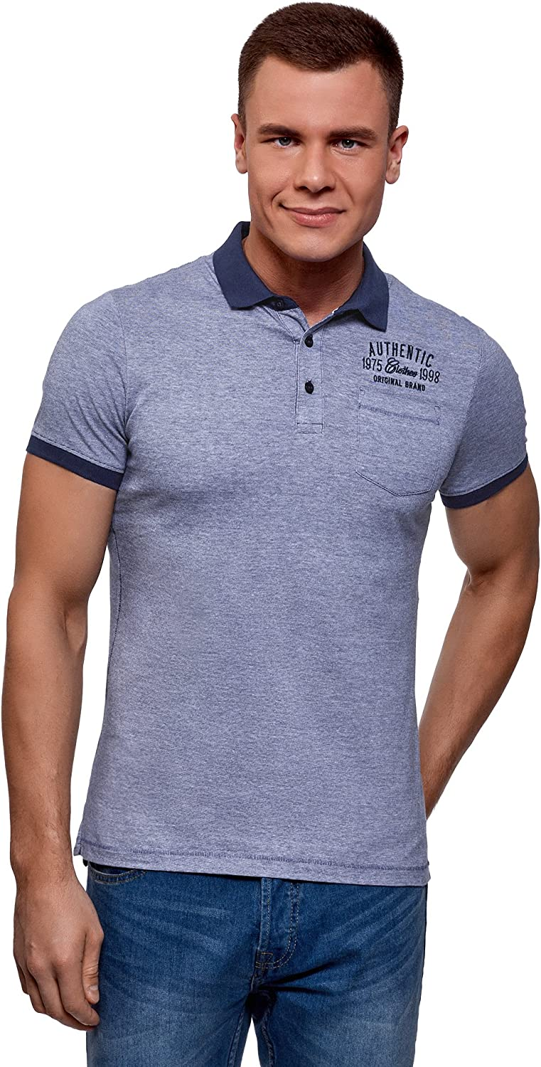 oodji Ultra Mens Cotton Polo Shirt with Contrast Details
