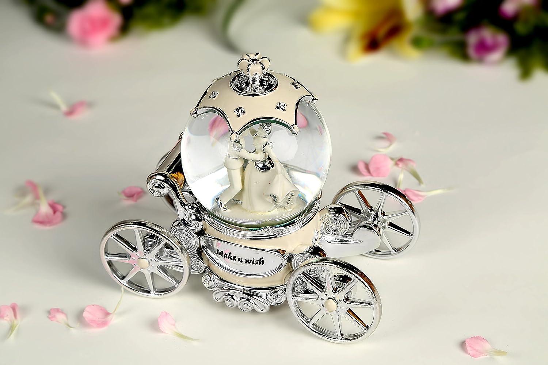 Non Non Non Rock Spieluhr, Motiv Braut und Bräutigam, mit Kristallkugel zum Aufziehen, LED, mit Musik des Hochzeichtsmarschs B0749MQ652 Spieluhren 2cf906