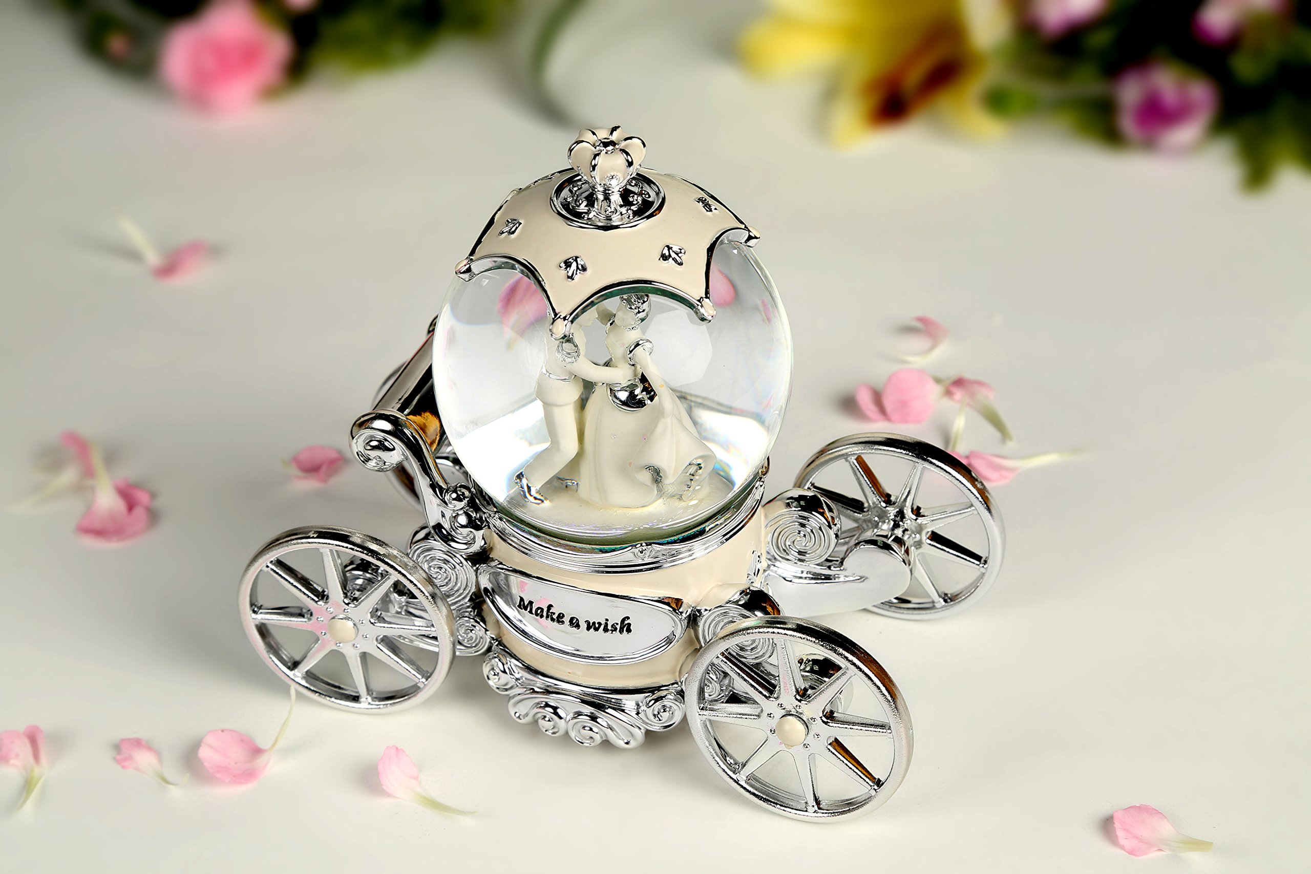 Water Globe Crystal Ball Wind Up Led with Music of Wedding March,Bride and Groom White Music Box by Bts (Image #5)