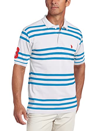 U.S. Polo Assn. Mens Yarn Dyed Striped Polo, White/Teal Blue ...