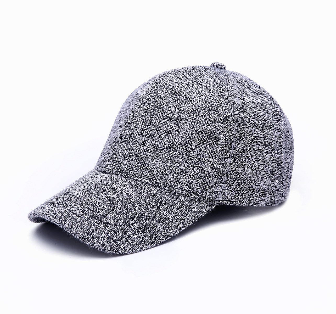 JOOWEN Unisex Knitted Textured Baseball Cap Soft Adjustable Solid Hat (Grey)