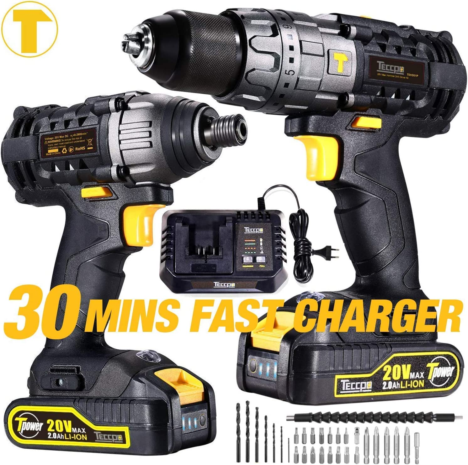 Impact Driver and Hammer Drill, 20V Cordless Combo Kit, 2X2.0Ah Li-Ion Batteries, 30-Min Quick Charger, 32pcs Accessories, Variable Speed, Tool Bag Included TECCPO