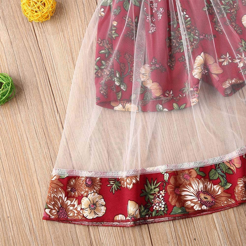 Toddler Baby Girl Princess Dress Vintage Floral Print Lace Halter Party Dresses Summer Outfits