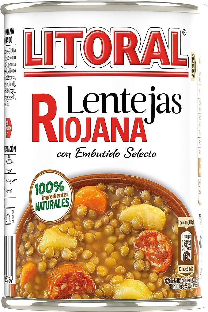 LITORAL Lentejas Riojana - Plato Preparado de Lentejas Riojana Sin Gluten - 430g: Amazon.es: Alimentación y bebidas