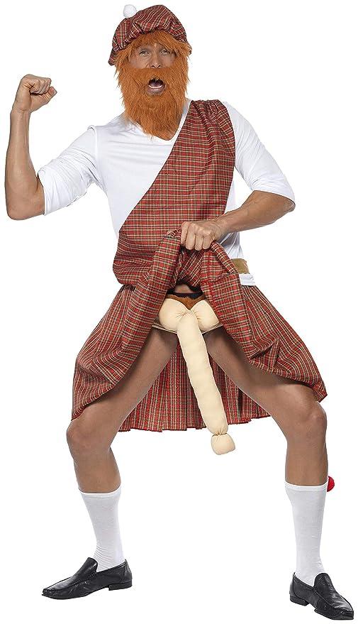 Smiffys, Herren Gut bestückter Highlander Kostüm, Mütze, Bart, Oberteil, Schärpe, Kilt, Tasche, Strümpfe und bestes Stück, Gr