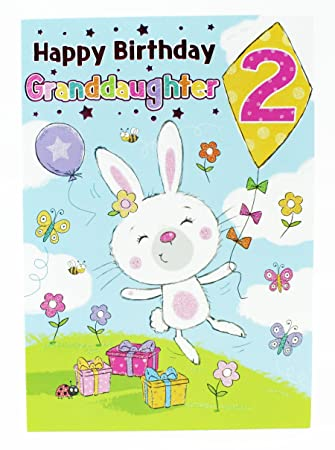 Happy 2nd Birthday Girls Greeting Cards Pink Granddaughter Baby Luxury Age Kids