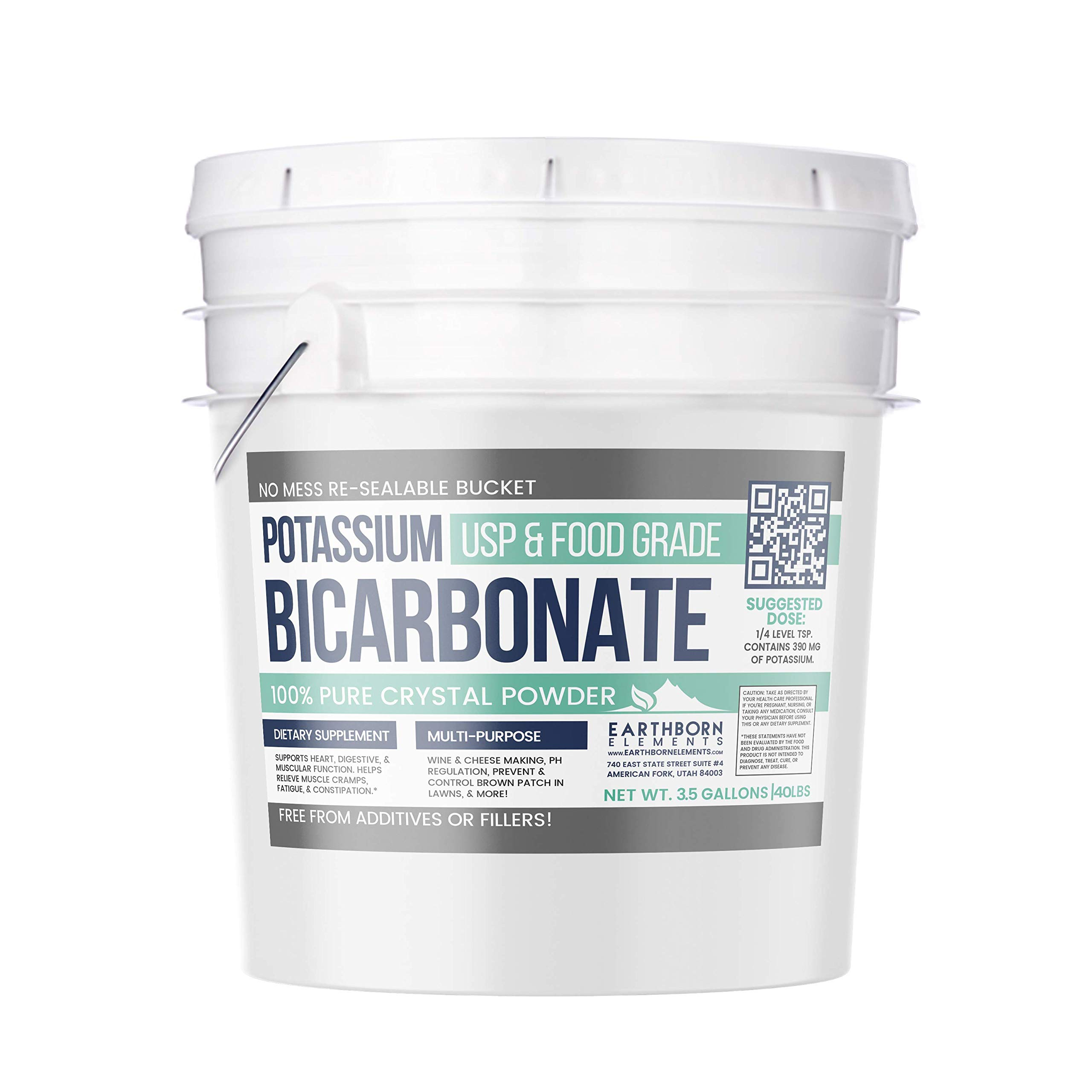Potassium Bicarbonate (3.5 Gallon, 40 lbs.) by Earthborn Elements, Resealable Bucket, Highest Purity, Food and USP Pharmaceutical Grade