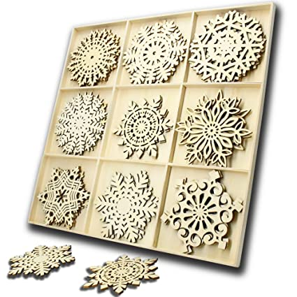 Yuqi 27pcs Wooden Snowflakes Ornaments Wood Ornament Shapesunfinished Wood Crafts For Home Decor Blankschristmas Tree Hanging Ornament Sets