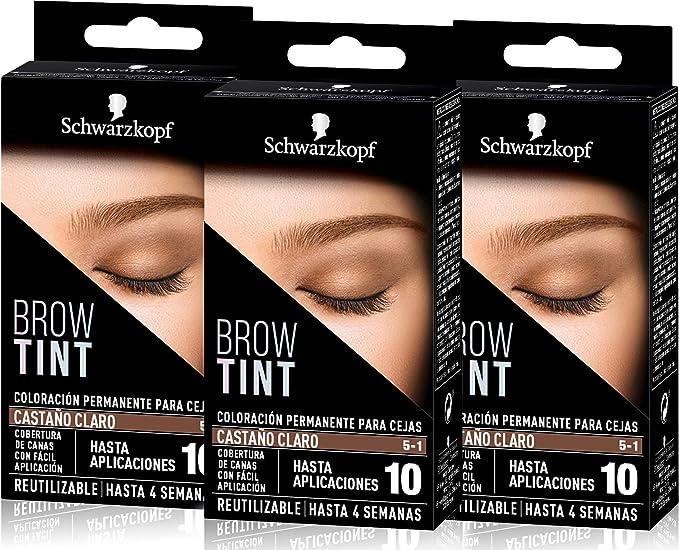 Schwarzkopf Brow Tint - Tinte De Cejas Castaño Claro Tono 5.1 (Pack de 3) – Coloración permanente - Color natural y duradero de hasta 4 semanas