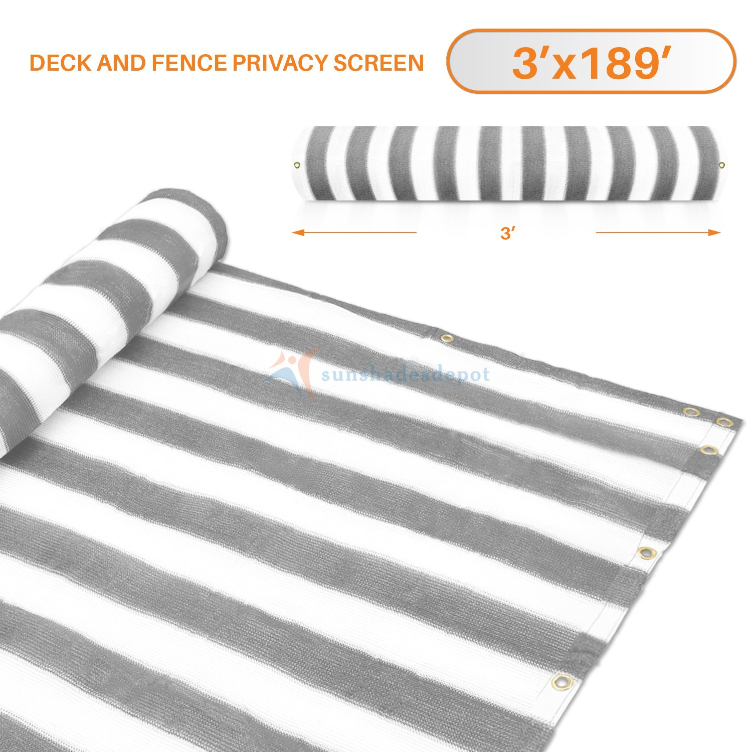 3' x 189' Gray (Grey) with White Stripes Residential Commercial Privacy Deck Fence Screen 160 GSM Weather Resistant Outdoor Protection Fencing Net for Balcony Verandah Porch Patio Pool Backyard Rails