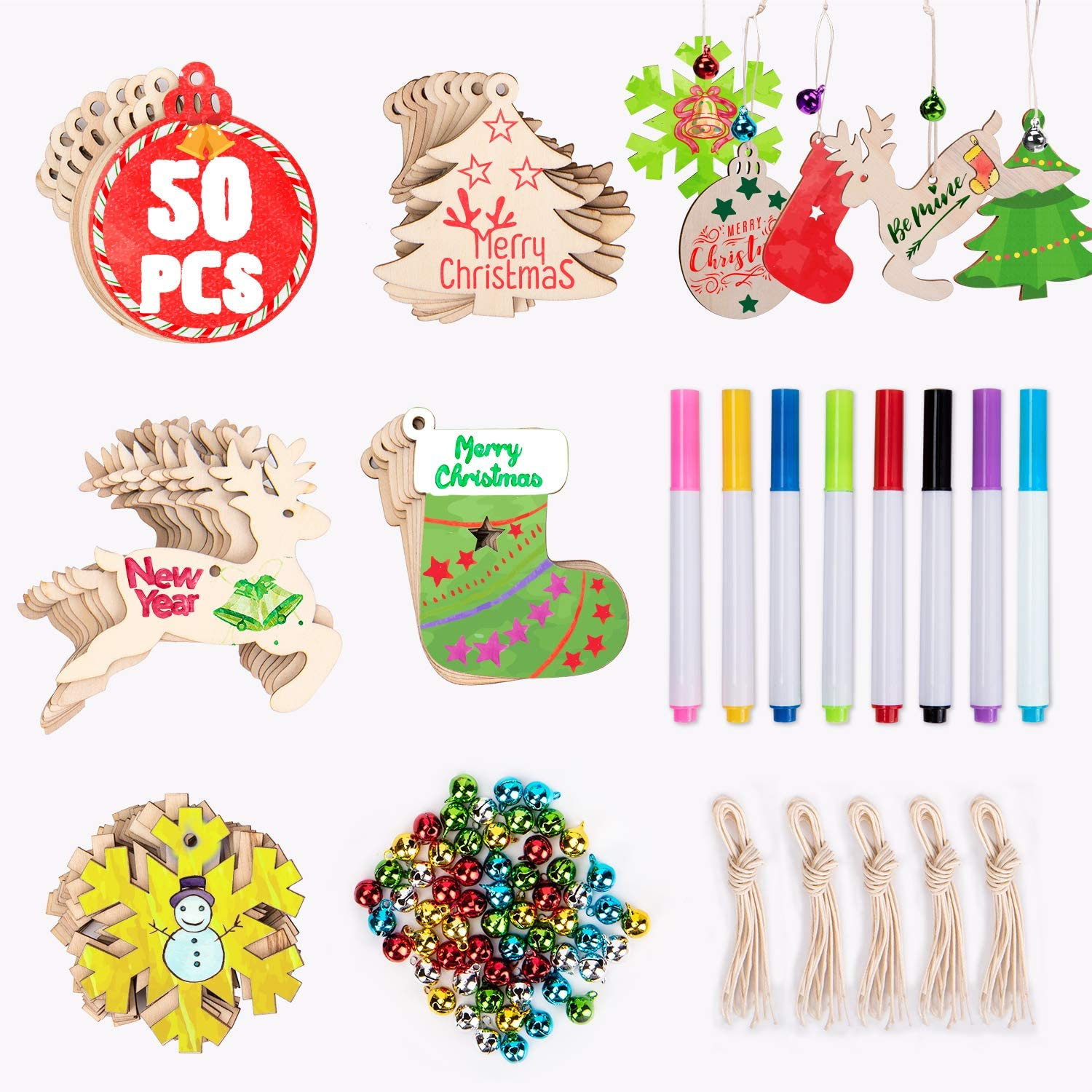 Joyjoz 50Pcs Christmas Wooden Ornaments Unfinished, 5 Styles Craft Wood Kit for Crafts Christmas Ornaments DIY Crafts with 8 Markers and 60 Jingle Bells