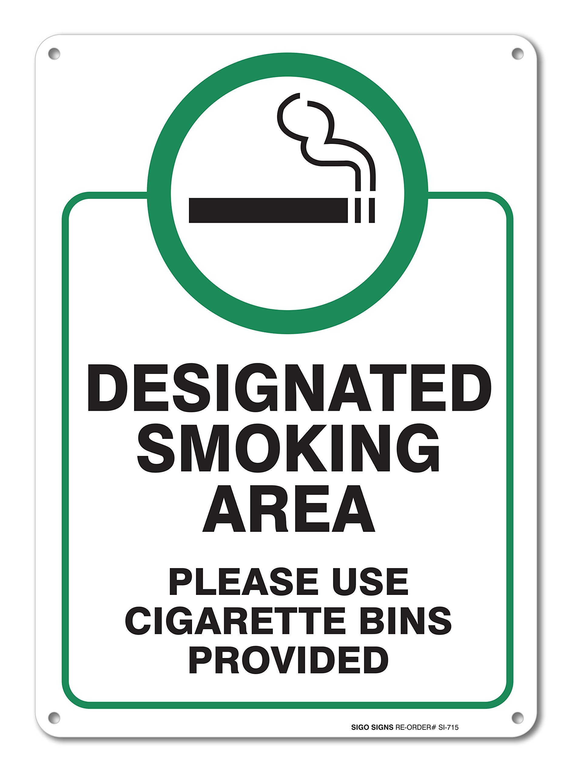 Designated Smoking Area Sign, Use Cigarette Bins Large 10x14'' Aluminum, for Indoor or Outdoor Use - by SIGO SIGNS