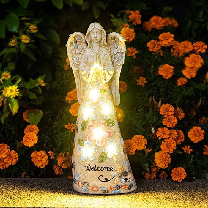 GIGALUMI Garden Angel Figurines Outdoor Decor, Garden Art Outdoor for Garden Decor, Solar Angel with 6 LEDs for Patio,Lawn,Yard Art Decoration, Cemetery Grave Decoration, Housewarming Garden Gift