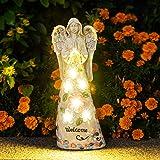 GIGALUMI Garden Angel Figurines Outdoor Decor, Garden Art Outdoor for Fall Winter Decor, Solar Angel with 6 LEDs for Patio, L