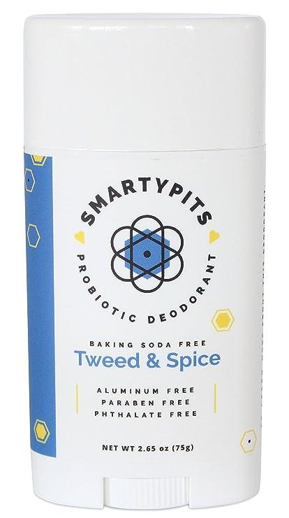 SmartyPits Desodorante probiótico (sin bicarbonato de soda) Tweed & Spice