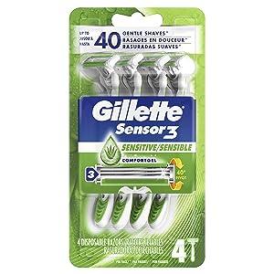 Gillette Sensor3 Sensitive Men's Disposable Razor, 4 Razors